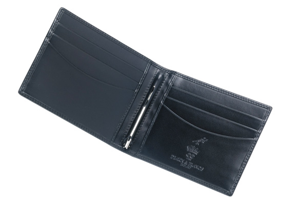Leather Money Clip Wallet in Black